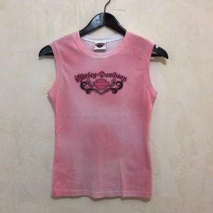 Harley Davidson Pink and White Tie Dye Tank sz S